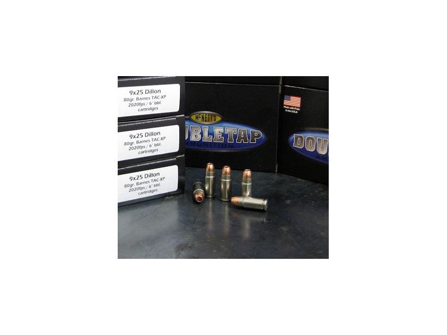 DoubleTap Ammunition 9x25mm Dillon 80 Grain Barnes TAC-XP Hollow Point Lead-Free Box of 20