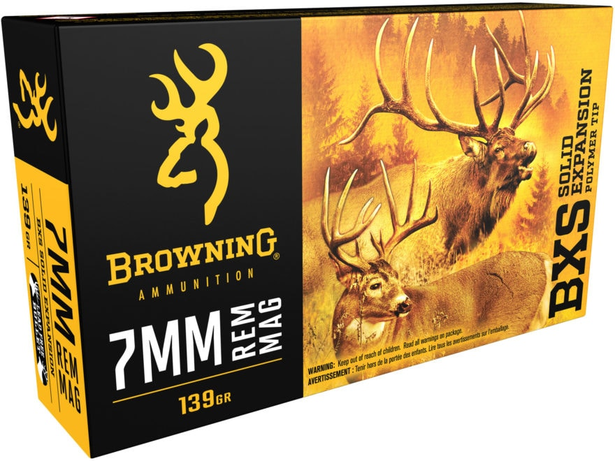 Browning BXS Solid Expansion Ammunition 7mm Remington Magnum 139 Grain Solid Copper Pol...