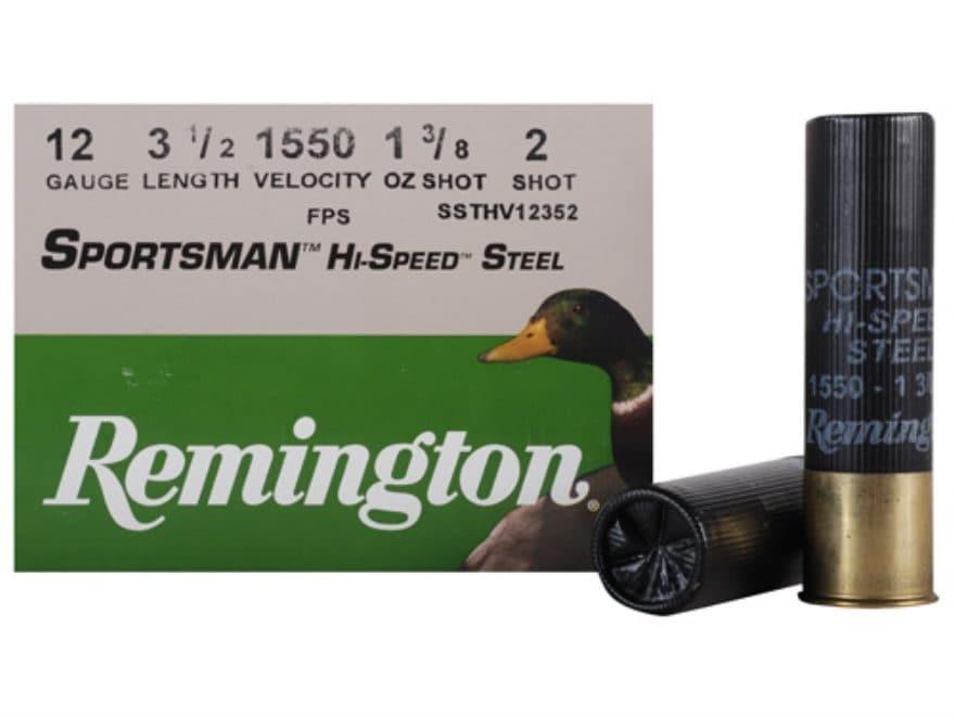 "Remington Sportsman Hi-Speed Ammunition 12 Gauge 3-1/2"" 1-3/8 oz #2 Non-Toxic Steel Shot"