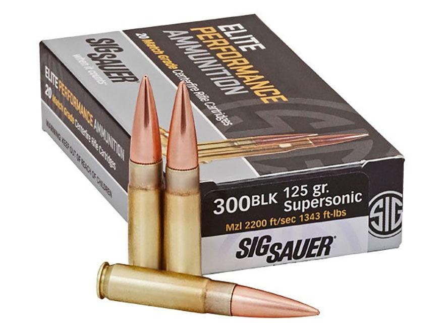Sig Sauer Elite Performance Match Grade Ammunition 300 AAC Blackout 125 Grain Open Tip ...