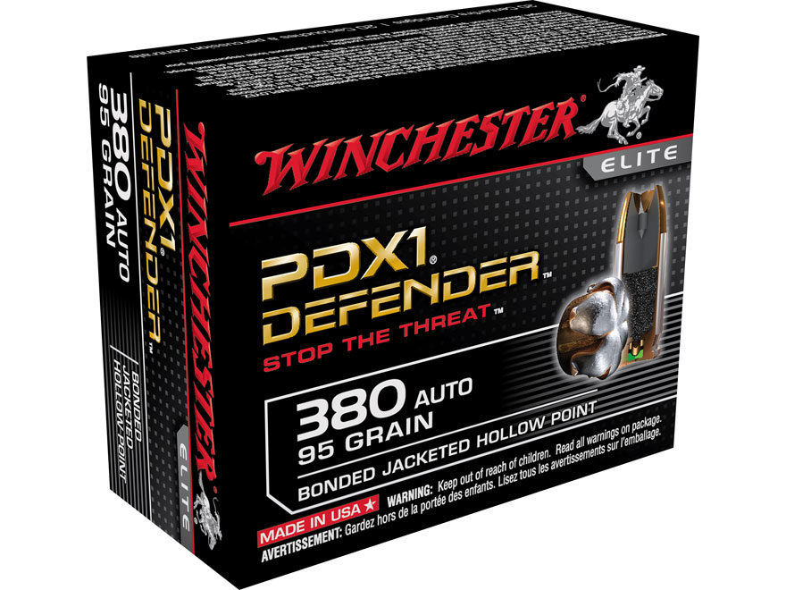 Winchester PDX1 Defender Ammunition 380 ACP 95 Grain Bonded Jacketed Hollow Point