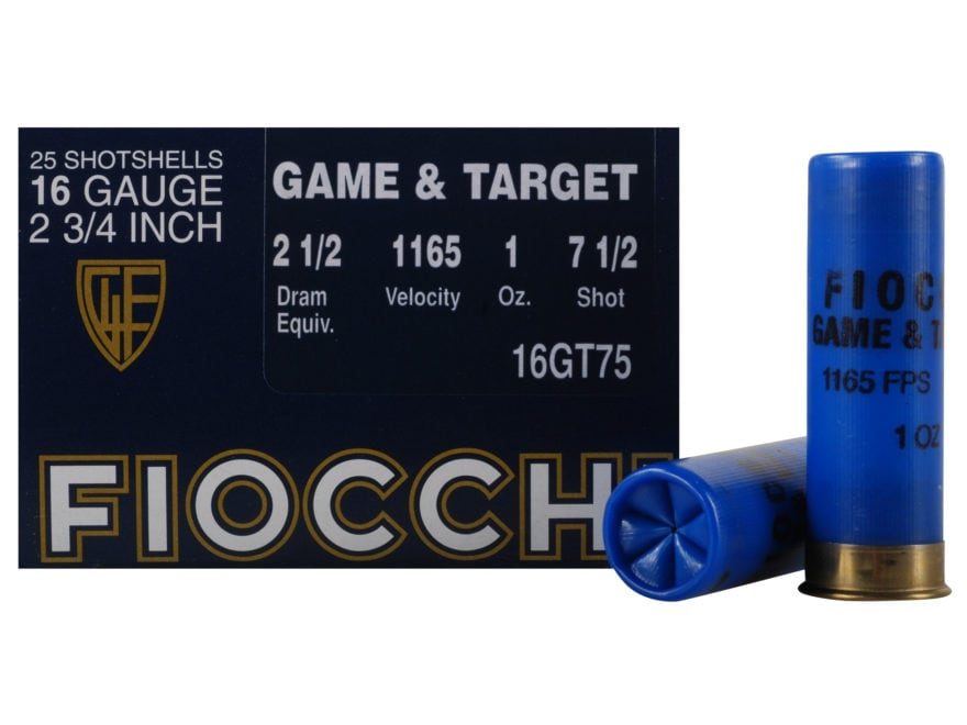 "Fiocchi Game & Target Ammunition 16 Gauge 2-3/4"" 1 oz"