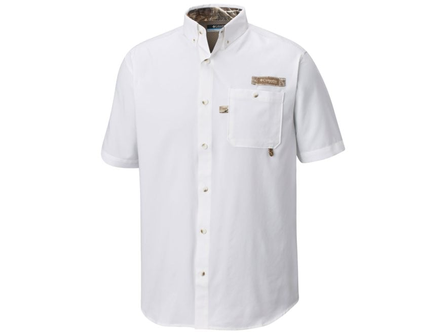 d86480334a5 Columbia Men's PHG Bucktail Button-Up Shirt Short Sleeve Cotton Flax