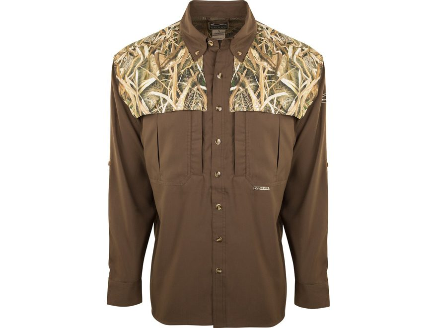 Drake Men's Two-Tone Camo Flyweight Wingshooter's Shirt Long Sleeve Polyester