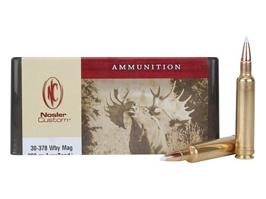 Nosler Custom Ammunition 30-378 Weatherby Magnum 200 Grain AccuBond Spitzer Box of 20