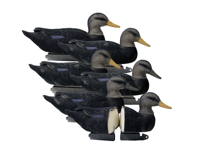 Higdon Battleship Foam Filled Black Duck Decoy Polymer Pack of 6