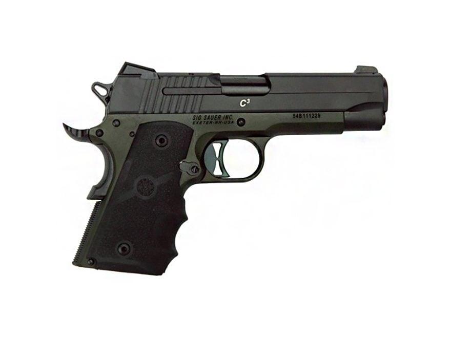"Sig Sauer 1911 C3 Compact Pistol 45 ACP 4.2"" Barrel Siglite Night Sights 7-Round Nitron..."