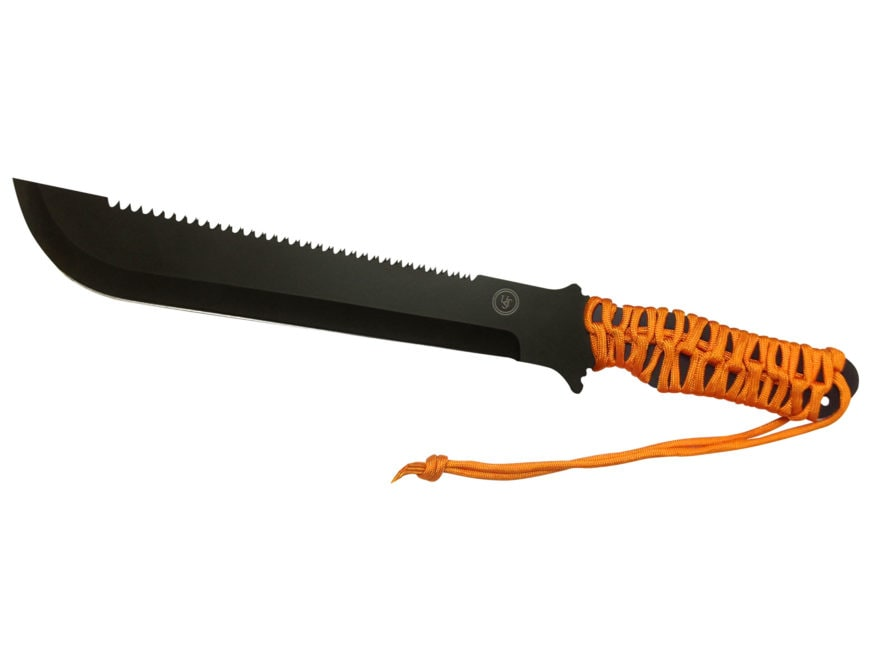 "UST ParaCuda Machete 11"" Drop Point Stainless Steel Blade Paracord Handle Orange"