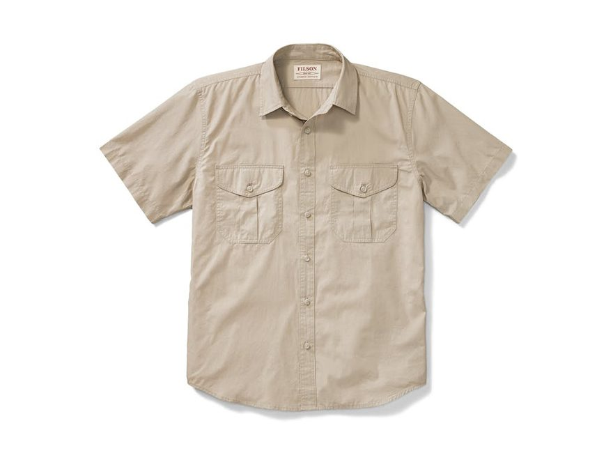 Filson Men's Feather Cloth Button-Up Shirt Short Sleeve Cotton