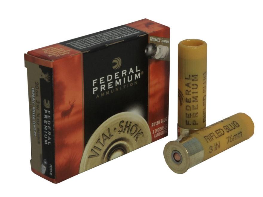 "Federal Premium Vital-Shok Ammunition 20 Gauge 3"" 1 oz TruBall Hollow Point Rifled Slug..."