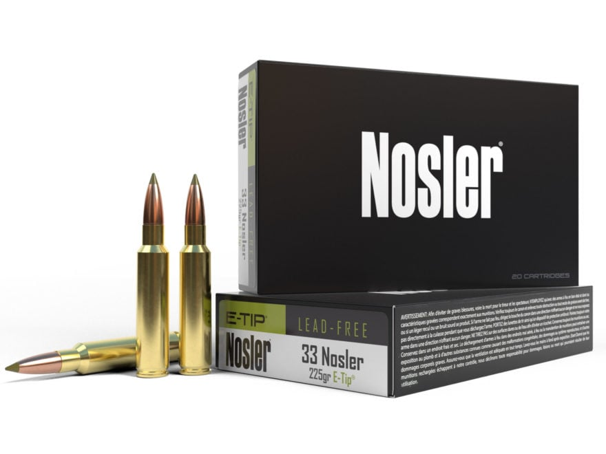 Nosler E-Tip Ammunition 33 Nosler 225 Grain E-Tip Lead-Free Box of 20