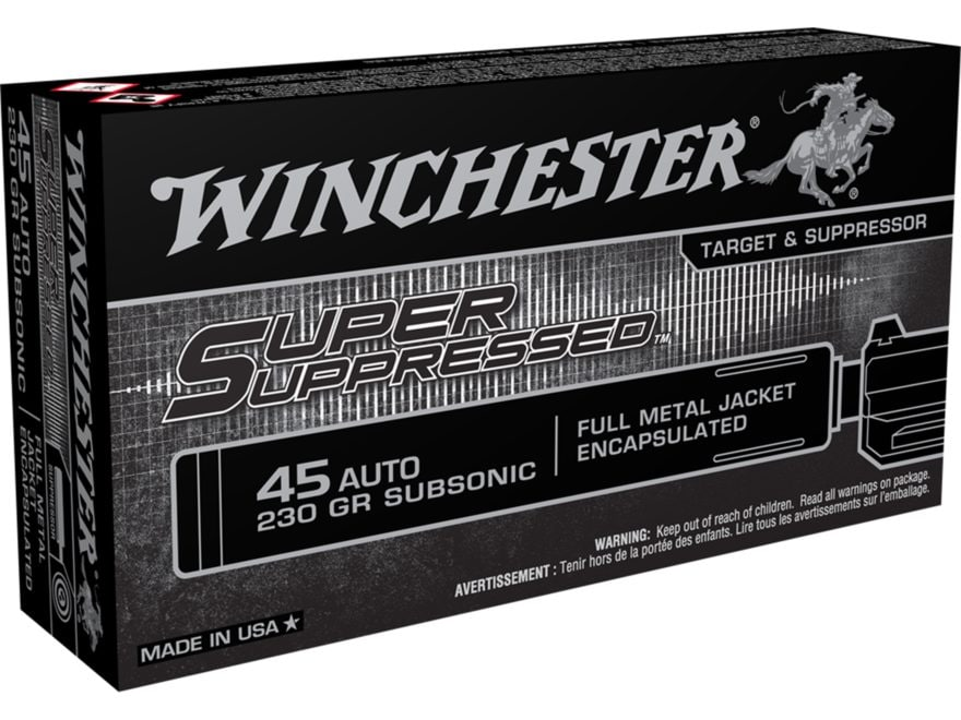 Winchester Super Suppressed Ammunition 45 ACP 230 Grain Full Metal Jacket