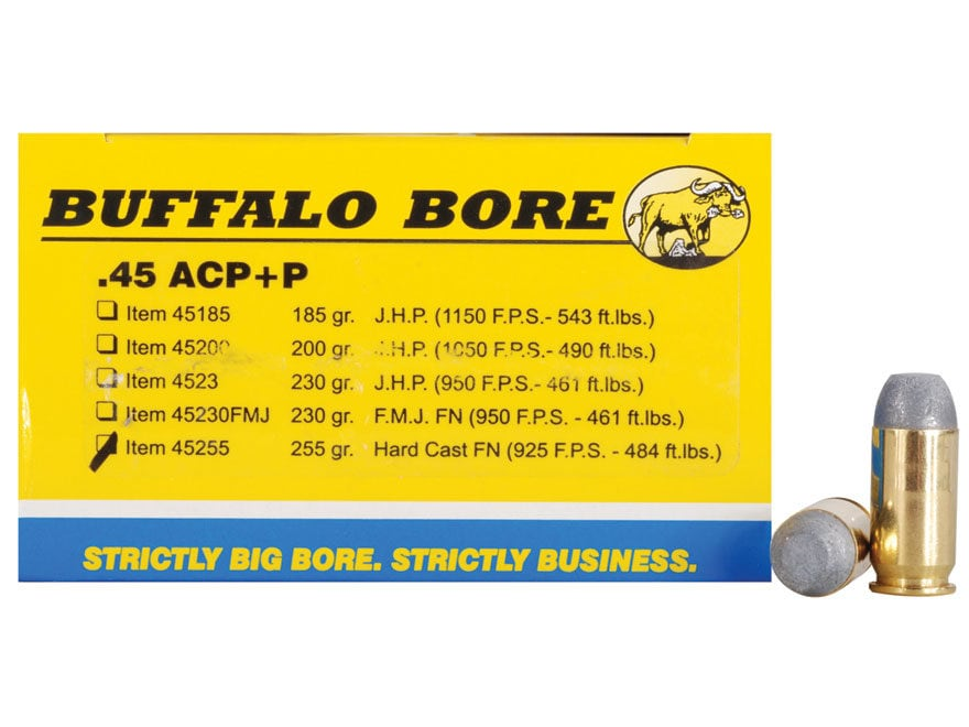 Buffalo Bore Ammunition Outdoorsman 45 ACP +P 255 Grain Hard Cast Lead Flat Nose Box of 20