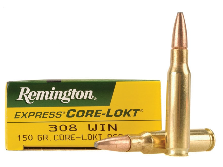 Remington Express Ammunition 308 Winchester 150 Grain Core-Lokt Pointed Soft Point Box ...