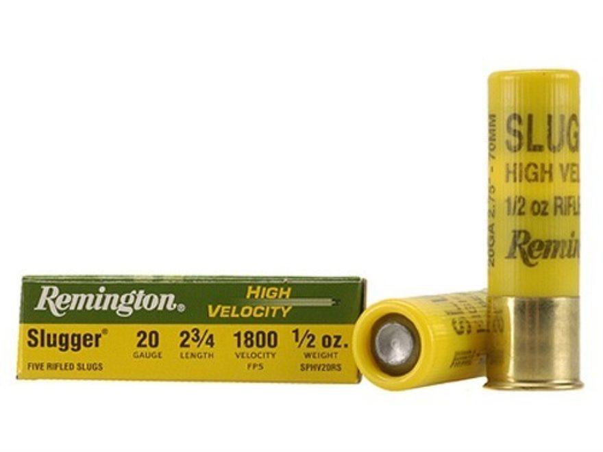 """Remington Slugger Ammunition 20 Gauge 2-3/4"""" 1/2 oz High Velocity Rifled Slug Box of 5"""