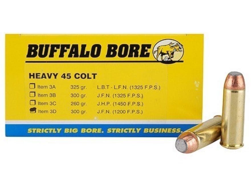 Buffalo Bore Ammunition 45 Colt (Long Colt) +P 300 Grain Jacketed Flat Nose Box of 50