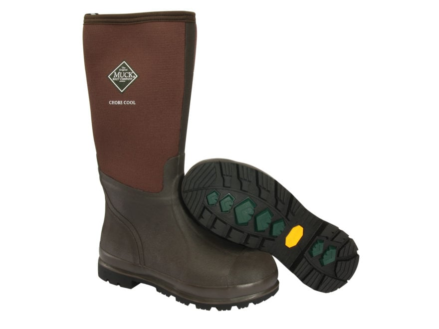 "Muck Chore Cool High 15"" Waterproof Work Boots Rubber and Nylon Brown Men's"