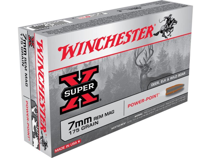 Winchester Super-X Ammunition 7mm Remington Magnum 175 Grain Power-Point