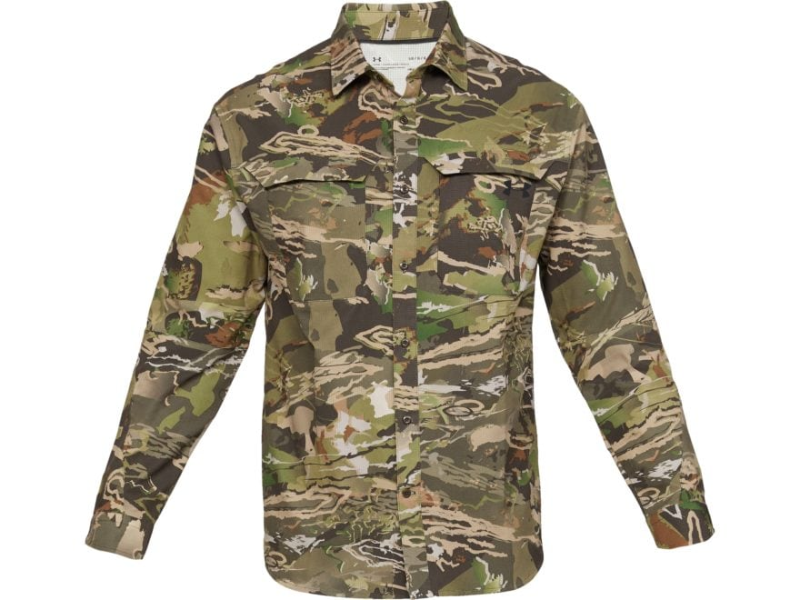 Under Armour Men's UA ArmourVent Camo No Fly Zone Button-Up Shirt Long Sleeve Polyester