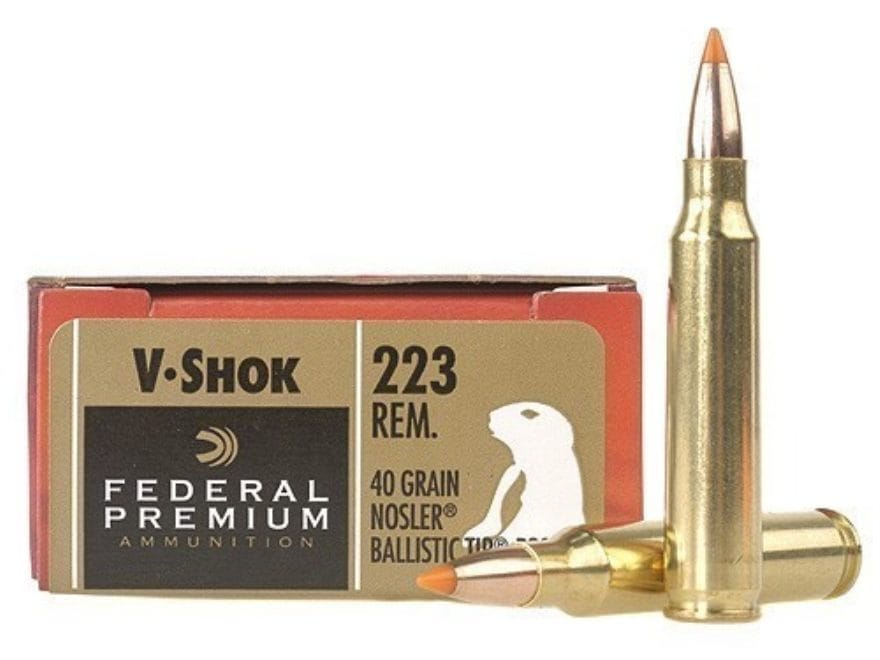 Federal Premium V-Shok Ammunition 223 Remington 40 Grain Nosler Ballistic Tip