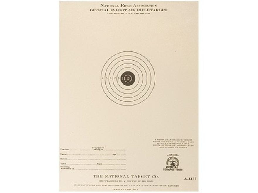 NRA Official Air Rifle Targets A-44/1 15' Air Rifle Paper Package of 100