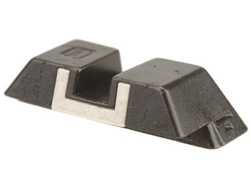 """Glock Square Rear Sight 6.1mm .240"""" Height Steel Black White Outline"""
