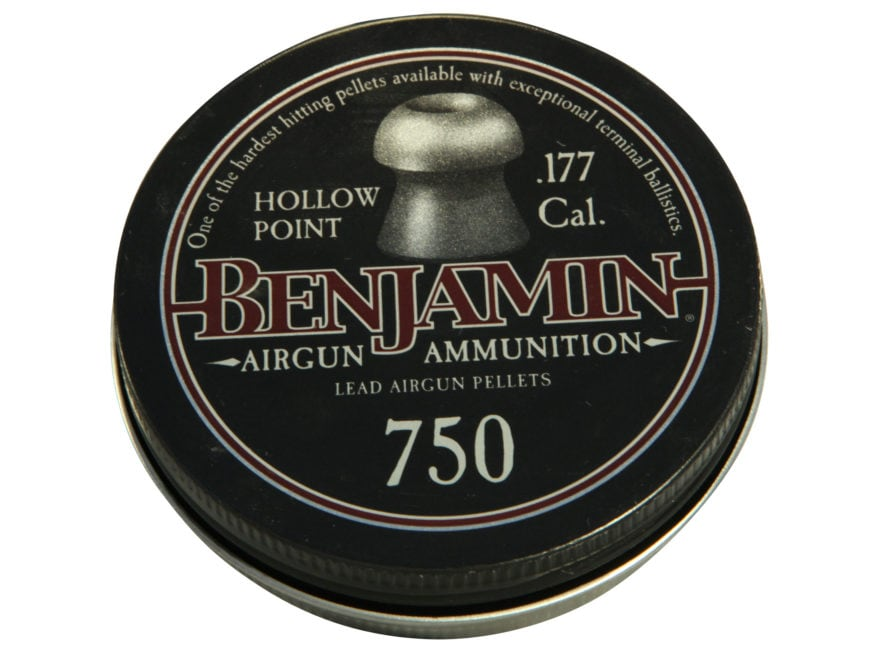 Benjamin Air Gun Pellets 177 Caliber 7.9 Grain Hollow Point Tin of 750