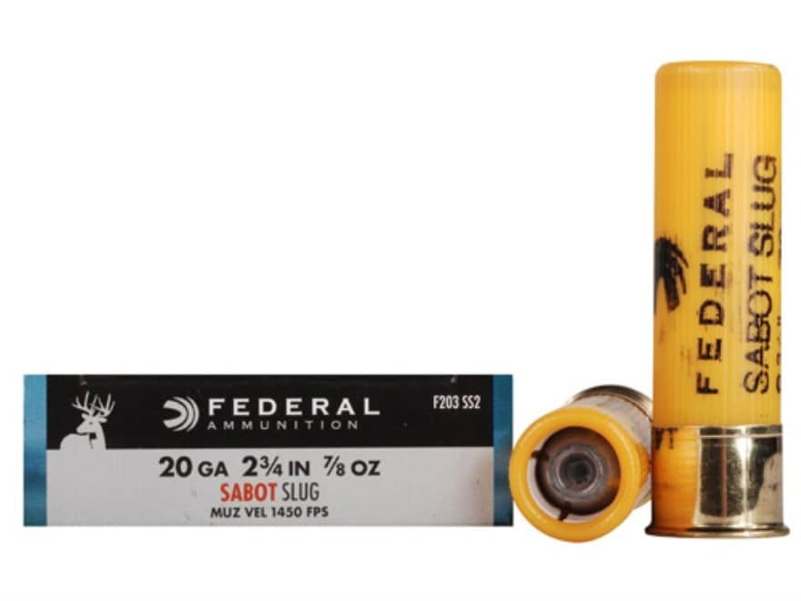 "Federal Power-Shok Ammunition 20 Gauge 2-3/4"" 7/8 oz Sabot Slug Box of 5"