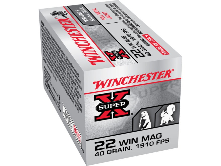 Winchester Super-X Ammunition 22 Winchester Magnum Rimfire (WMR) 40 Grain Full Metal Ja...