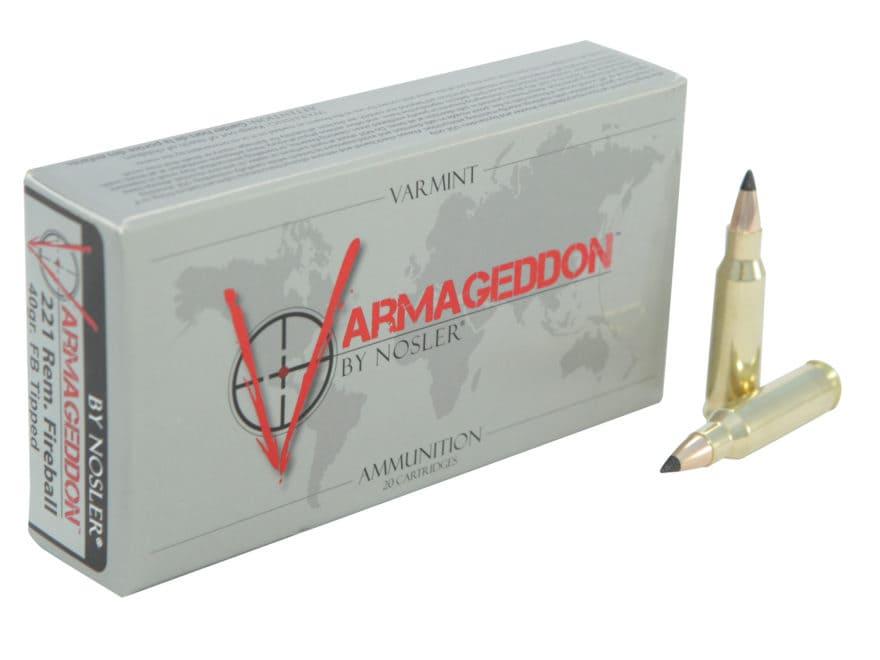 Nosler Varmageddon Ammunition 221 Remington Fireball 40 Grain Tipped Flat Base Box of 20