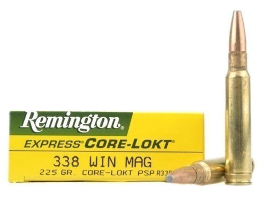 Remington Express Ammunition 338 Winchester Magnum 225 Grain Core-Lokt Pointed Soft Poi...