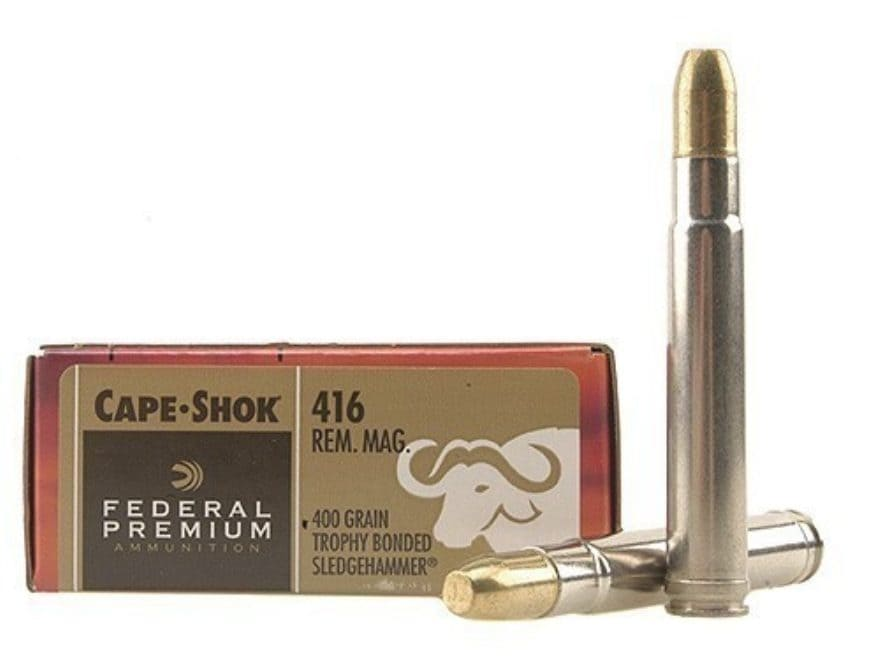 Federal Premium Cape-Shok Ammunition 416 Remington Magnum 400 Grain Trophy Bonded Sledg...