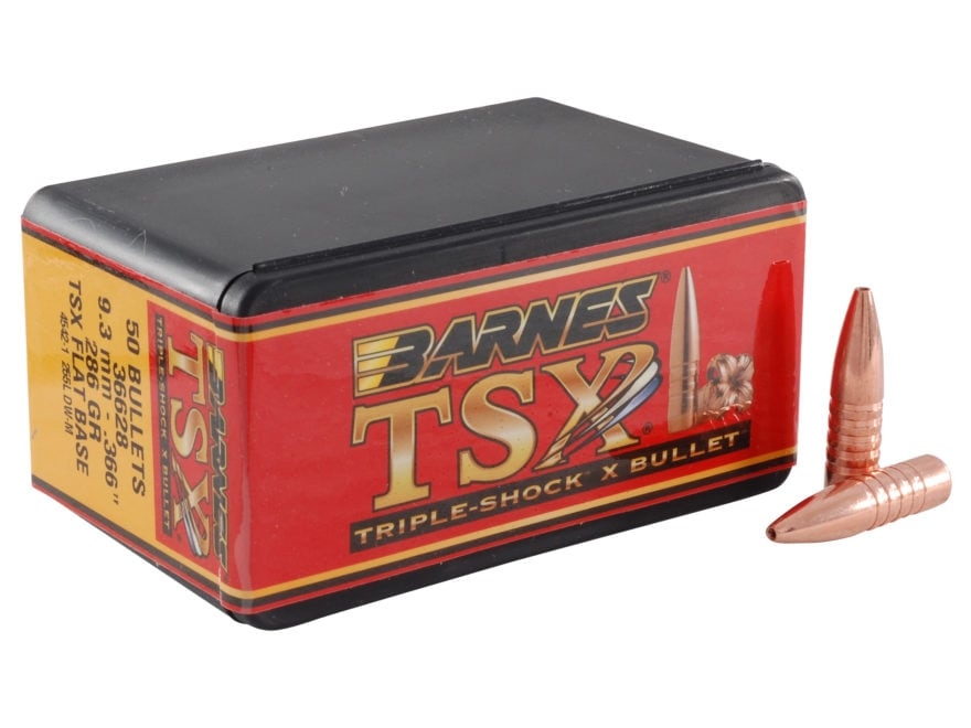 Barnes Triple-Shock X (TSX) Bullets 9.3mm (366 Diameter) 286 Grain Hollow Point Flat Ba...