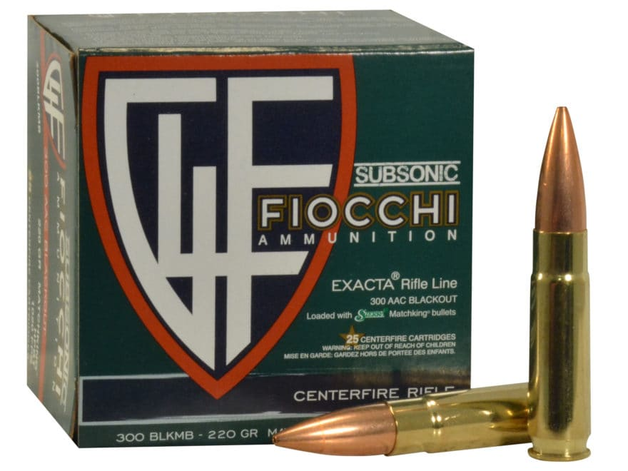 Fiocchi Exacta Ammunition 300 AAC Blackout Subsonic 220 Grain Sierra MatchKing Hollow P...