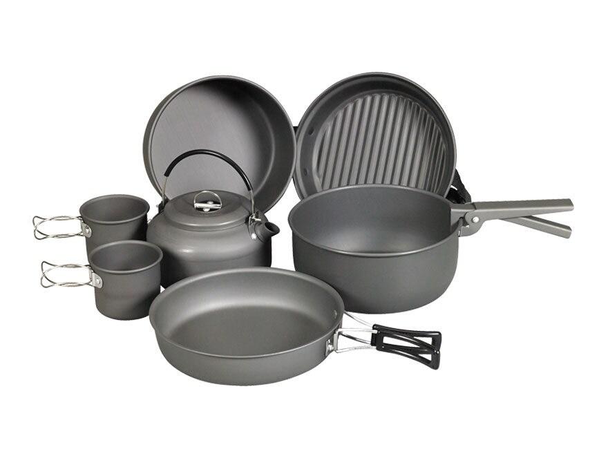 NDUR 9 Piece Cookware Mess Kit Aluminum Black
