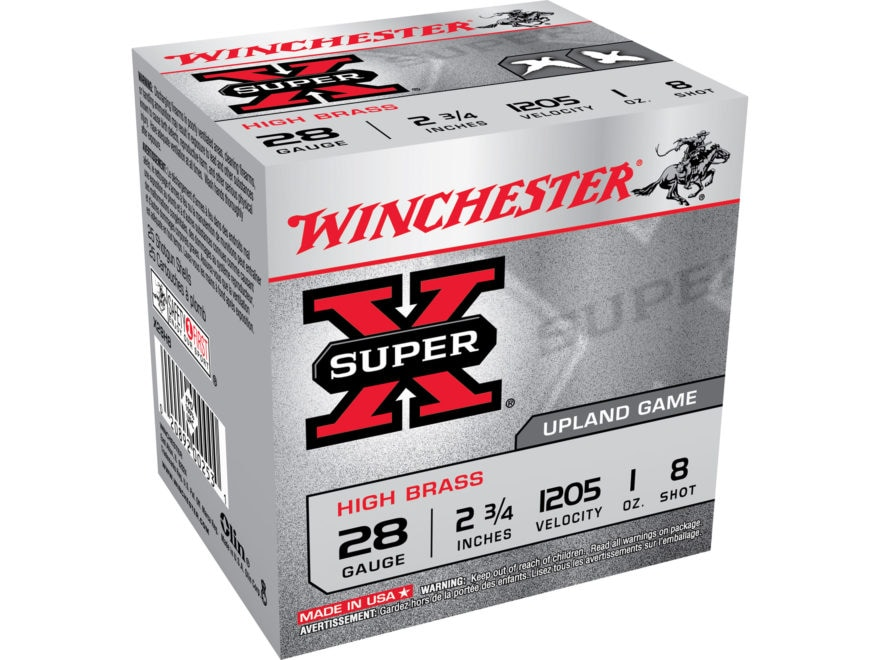"Winchester Super-X High Brass Ammunition 28 Gauge 2-3/4"" 1 oz #8 Shot"