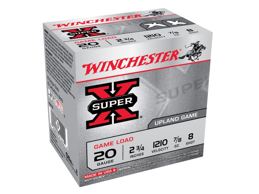"Winchester Super-X Game Load Ammunition 20 Gauge 2-3/4"" 7/8 oz #8 Shot"