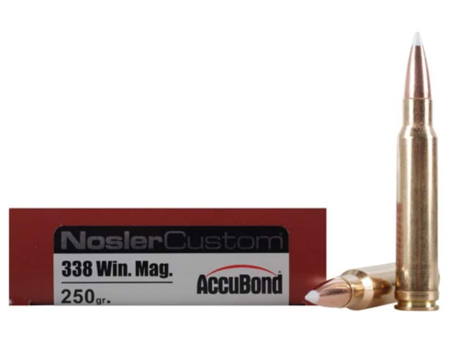 Nosler Trophy Grade Ammunition 338 Winchester Magnum 250 Grain AccuBond Box of 20