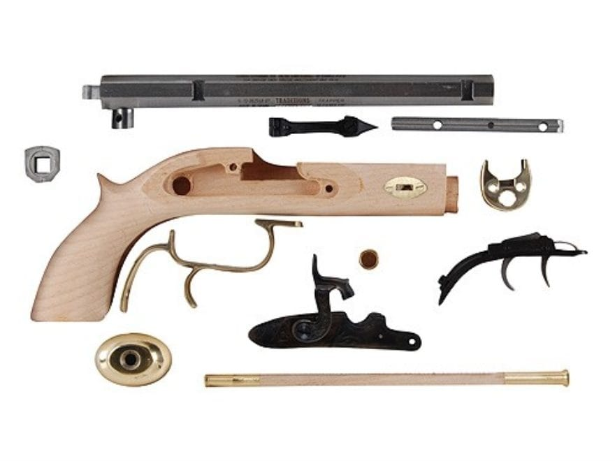 "Traditions Trapper Black Powder Pistol Unassembled Kit 50 Caliber Percussion 1 in 20"" T..."