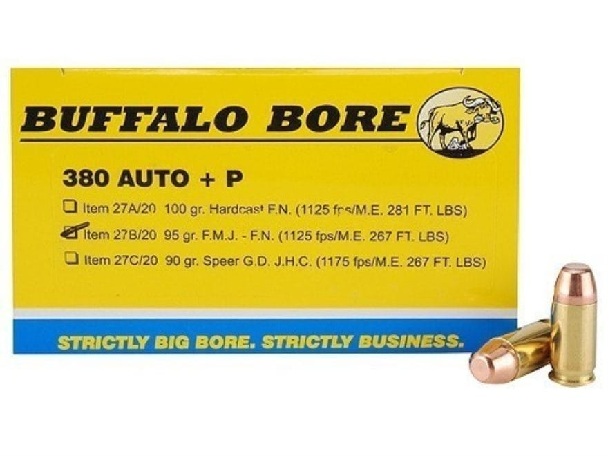 Buffalo Bore Ammunition 380 ACP +P 95 Grain Full Metal Jacket Box of 20