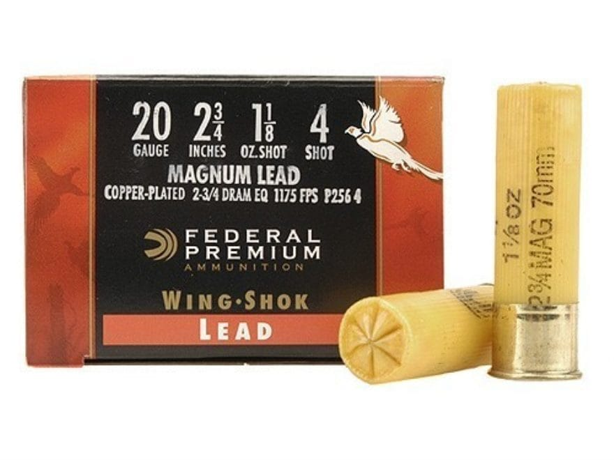 "Federal Premium Wing-Shok Ammunition 20 Gauge 2-3/4"" 1-1/8 oz Buffered #4 Copper Plated..."
