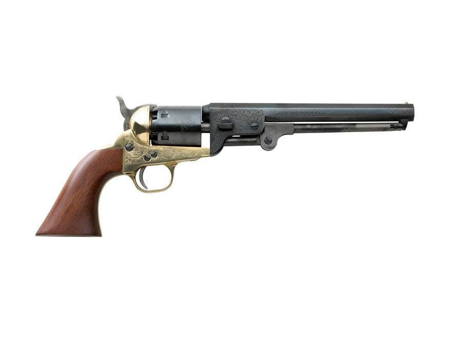 "Pietta 1851 Navy Black Powder Revolver 7.5"" Barrel Brass Frame Engraved Deluxe Blue"