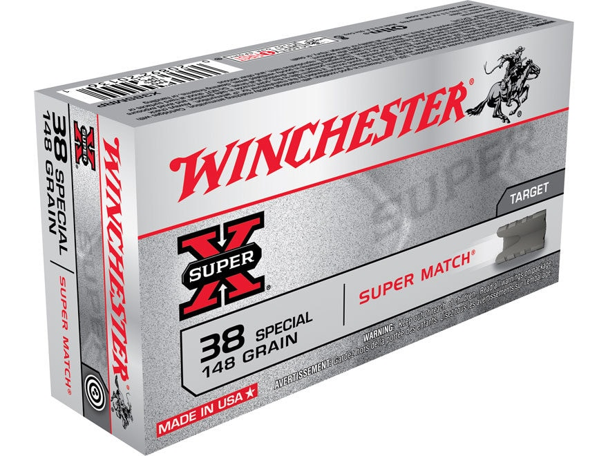 Winchester Super-X Ammunition Super Match 38 Special 148 Grain Lead Wadcutter