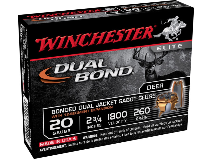 "Winchester Dual-Bond Ammunition 20 Gauge 2-3/4"" 260 Grain Jacketed Hollow Point Sabot Slug"