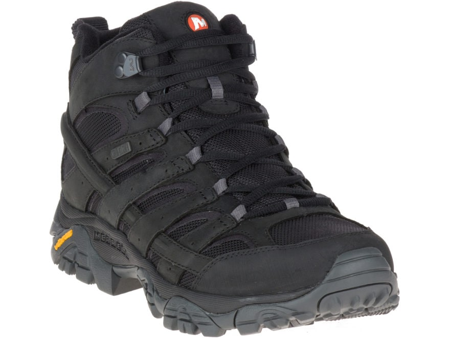 """Merrell Moab 2 Smooth Mid 5"""" Waterproof Hiking Boots Leather/Nylon Men's"""