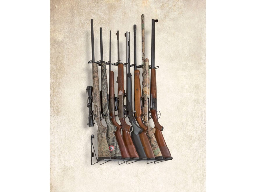 Rack'Em Racks 8 Rifle Wall Mounted Display Rifle Barrel Rest and Buttstock Tray
