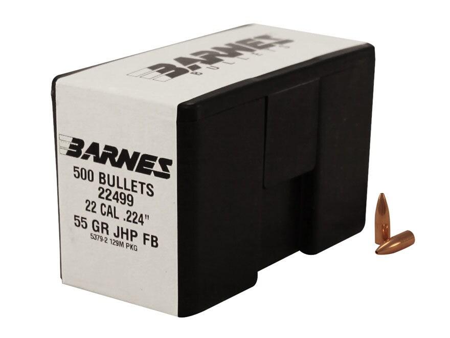 Barnes Bullets 22 Caliber (224 Diameter) 55 Grain Jacketed Hollow Point Flat Base Box o...