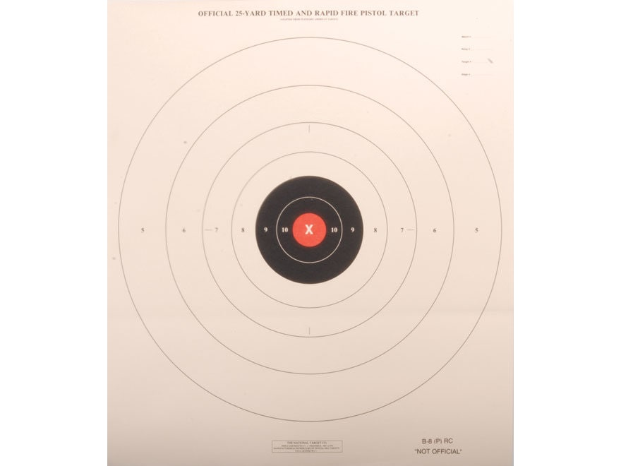 NRA Official Pistol Targets B-8(P) RC Red Center 25 Yard Timed and Rapid Fire Paper Pac...