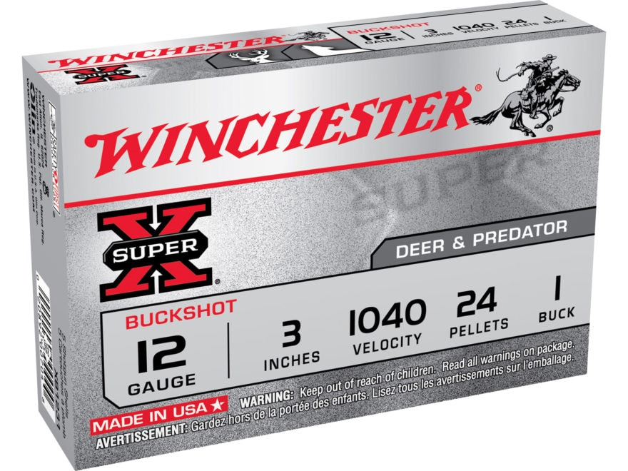"Winchester Super-X Ammunition 12 Gauge 3"" Buffered #1 Buckshot 24 Pellets Box of 5"