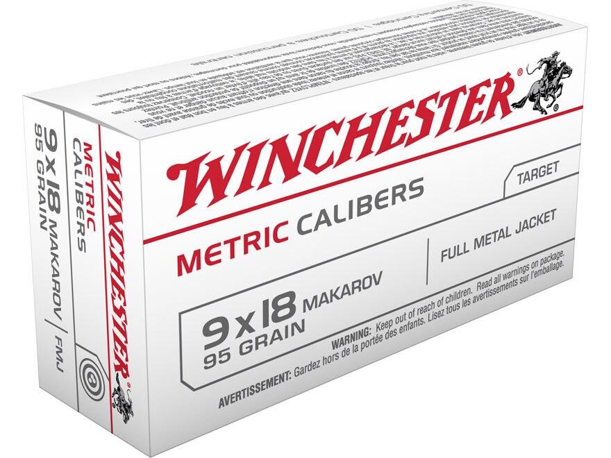 Winchester USA Ammunition 9x18mm (9mm Makarov) 95 Grain Full Metal Jacket